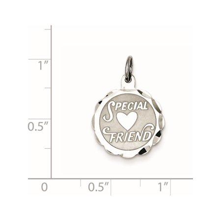 925 Sterling Silver Special Friend Disc (15x18mm) Pendant / Charm - image 1 de 2