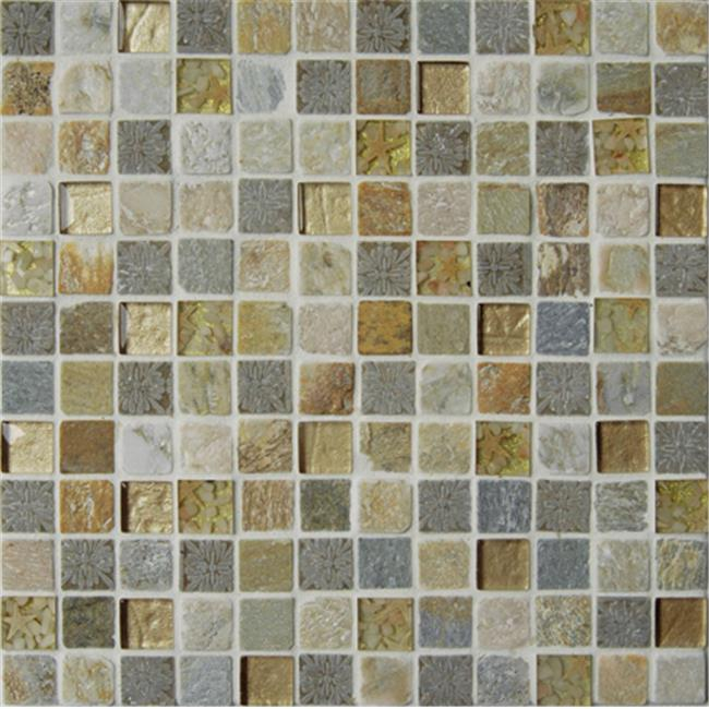 Intrend Tile 1 x 1 Sandy Beach Stone And Glass Square Gray And Tan With Sea Shell Accent