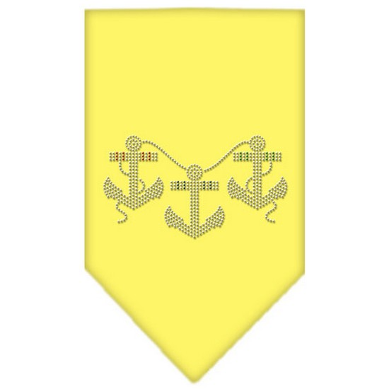Anchors Rhinestone Bandana Yellow Large