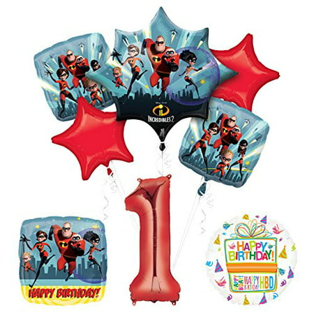 Incredibles 2 party supplies 1st Birthday Balloon Bouquet - First Birthday Party Decorations