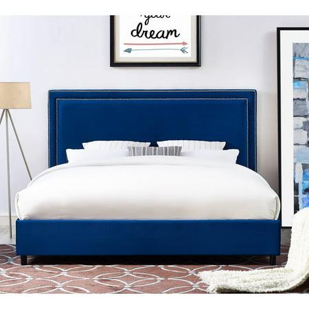 TOV Furniture Reed Navy Blue Velvet Upholsterd Bed ()