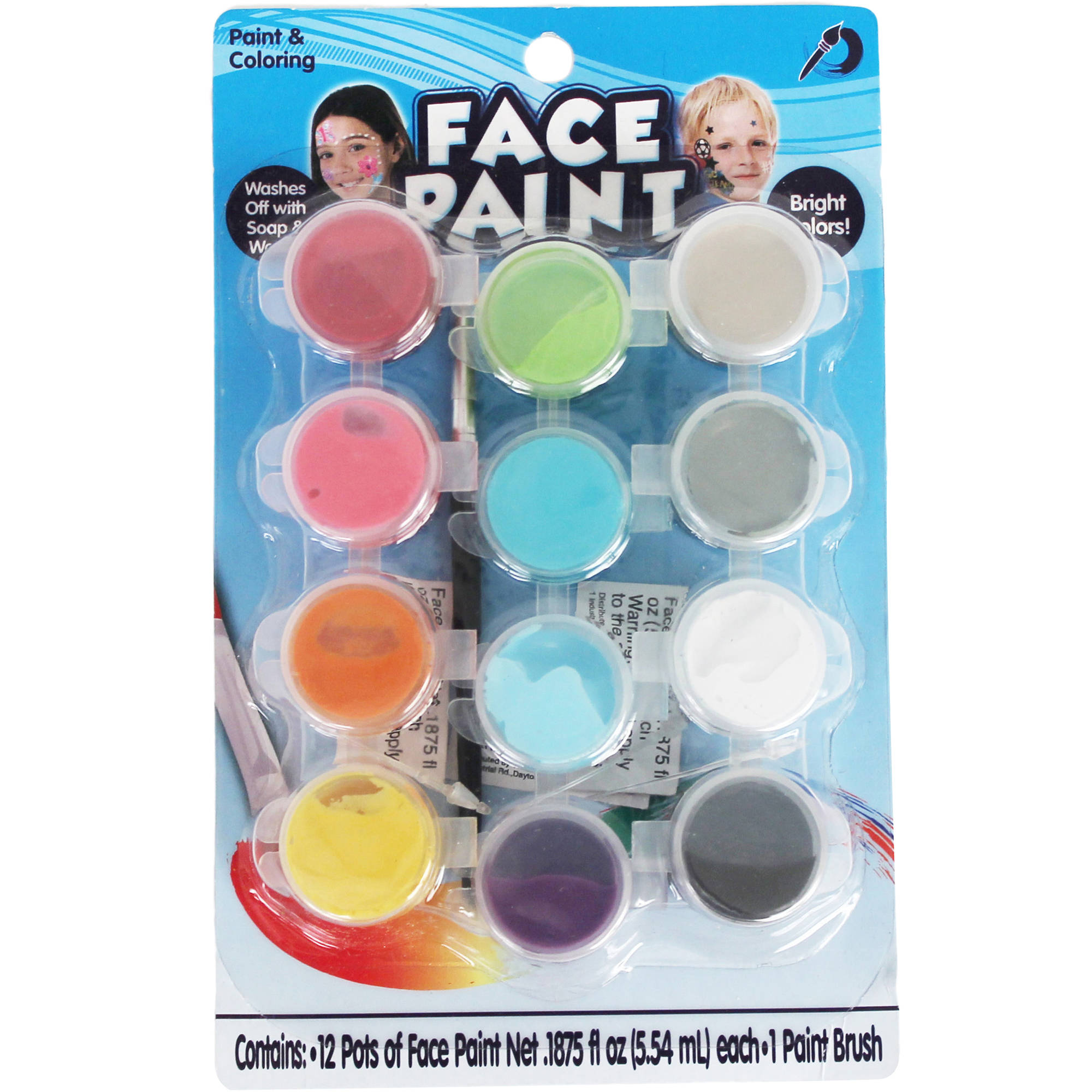 Multicolor Face Paint Pots, 12ct.