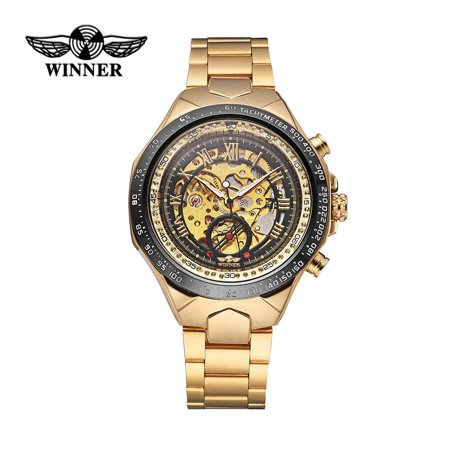 WINNER High Quality Men Semi-Automatic Mechanical Watch Big Dial Hand-winding Business Skeleton Hollowed-out