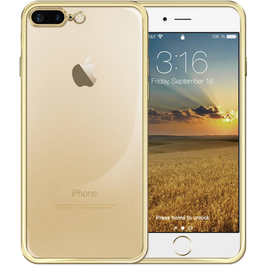 MUNDAZE Metallic Gold Edge Clear Crystal Jelly Skin Case for Apple iPhone 7 Plus