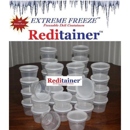 16 Ounce Plastic Lid - Reditainer Extreme Freeze Deli Food Containers with Lids, 16-Ounce, 36-Pack