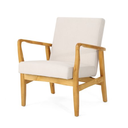 Isaac Mid Century Modern Fabric Club Chair, Ivory
