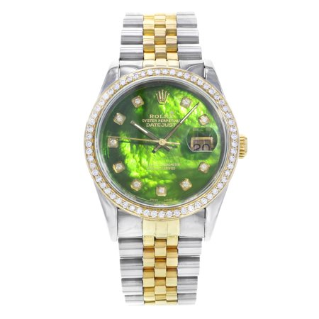 Dial Golden Bezel (Pre-Owned Rolex Datejust 16233 Steel 18K Gold Custom Bezel and Dial Automatic Mens Watch)