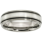 Titanium Grooved Sterling Silver Inlay 6mm Brushed/Polished Band