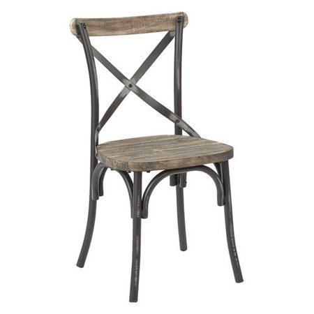 Office Star Somerset Metal Dining Chair With Wood Seat In Red