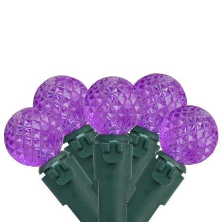 "(Set of 50 Purple LED G12 Berry Christmas Lights 4"" Bulb Spacing - Green Wire)"