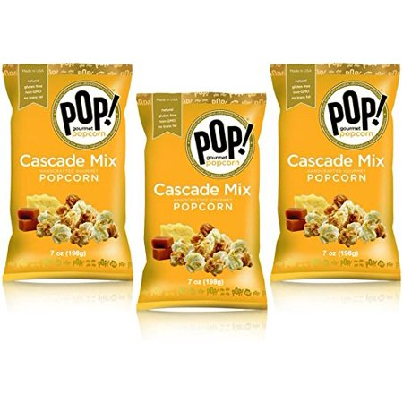 - POP! Gourmet Cascade Mix (White Cheddar and Caramel) Popcorn, 7 ounce, (3-pack)