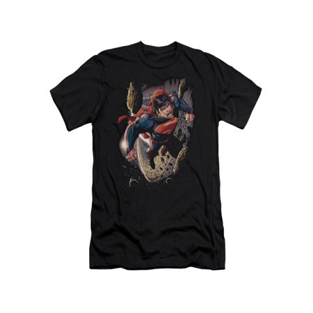 Superman DC Comics Superhero Flying In Space Orbit Adult Slim T-Shirt Tee
