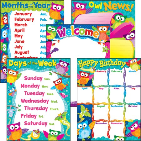 Trend, TEP38959, PreK-3 Owl-Stars Basic Learning Charts Combo, 5 / Pack ()