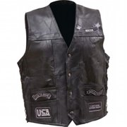 BNFUSA GFV14GRYM Rock Design Buffalo Leather Vest with Gray-Tone Patches - Medium