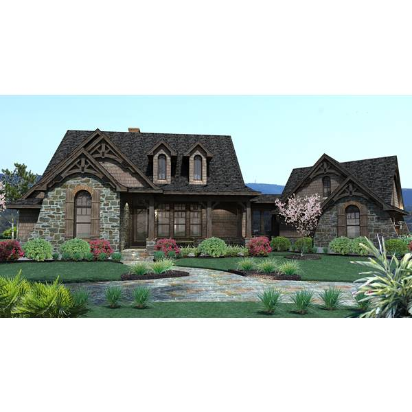 TheHouseDesigners-2138 Craftsman Cottage House Plan with Slab Foundation (5 Printed Sets)