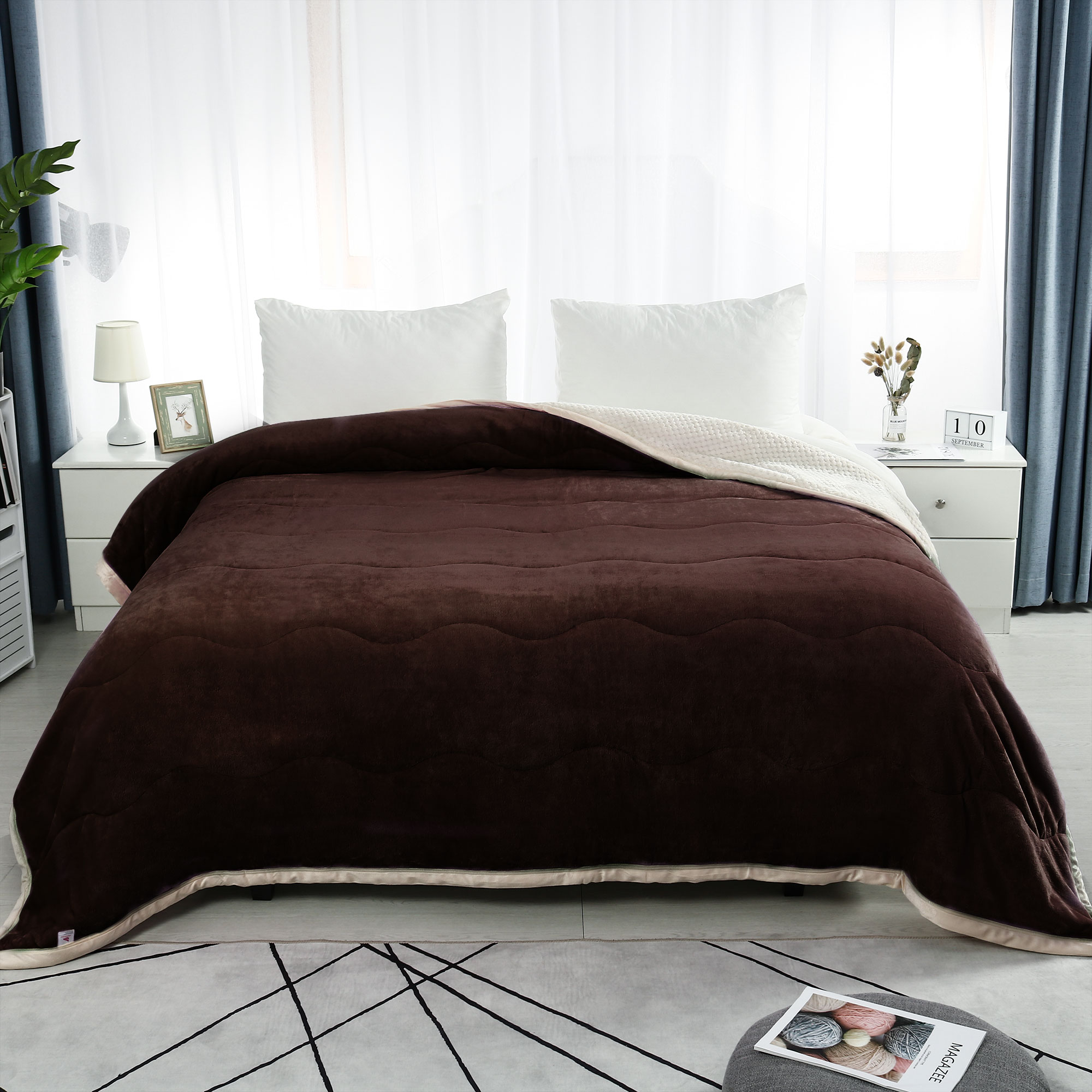 """Warm 3 Layers Wave Line Thick Fleece Bed Blanket Queen 78x 90"""" Coffee Color"""
