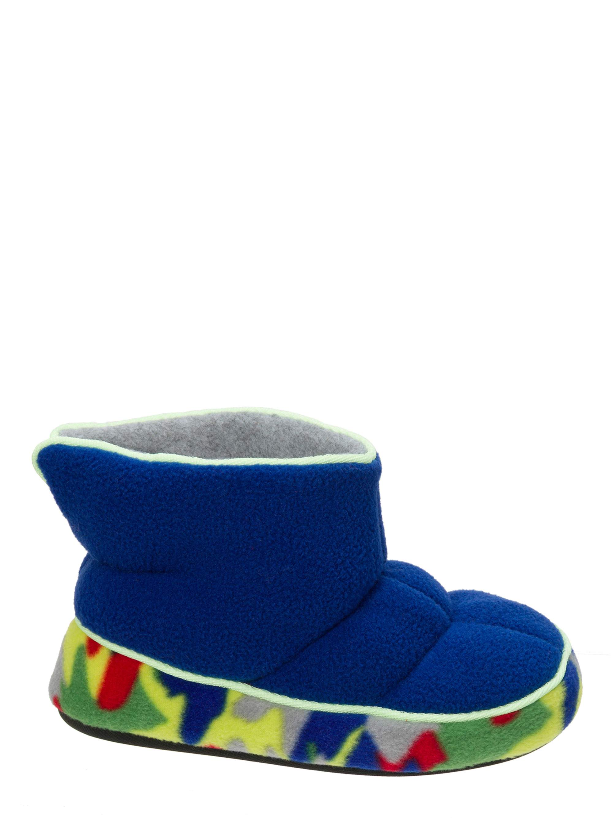 DF by Dearfoams Boys' Quilted Fleece Bootie with Glow Slippers