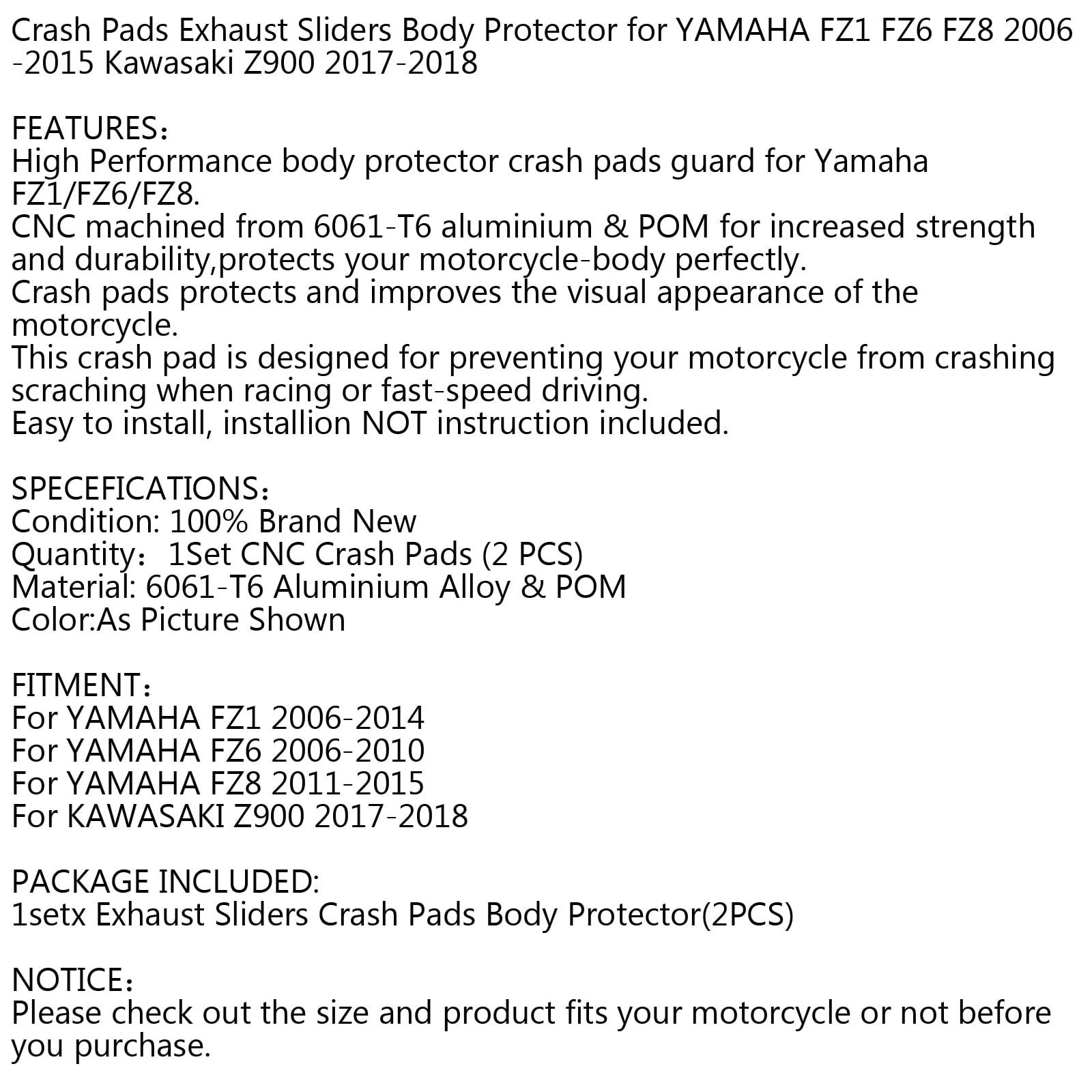 Color : FZ8 Gold For YAMAHA FZ1 FZ6 FZ8 FAZER Motorcycle CNC Falling Protection Frame Slider Fairing Guard Anti Crash Pad Protector FZ 1 FZ 6 8