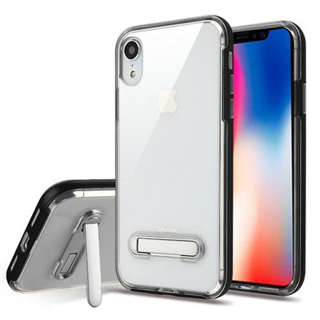 Apple iPhone XR (6.1 Inch) Phone Case Shockproof Hybrid Bumper Rubber Silicone Cover Transparent Clear Magnetic Metal Kick Stand Black Case for Apple iPhone Xr (6.1