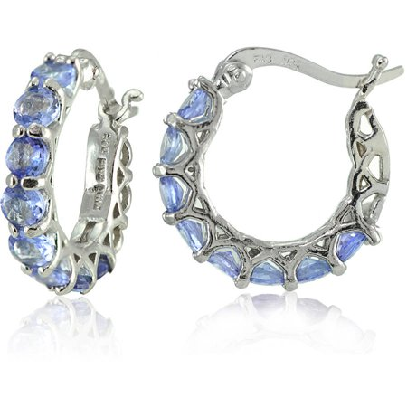 Tanzanite Sterling Silver Small Round Huggie Hoop Earrings