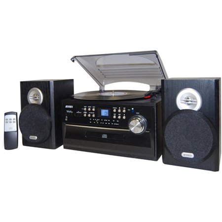 Jensen JTA-475 3-Speed Turntable with CD, Cassette and AM FM Stereo Radio by