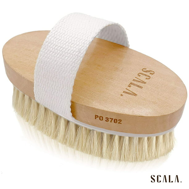 Wet And Dry Body Brush Exfoliator Large Horsehair Soft Bristle