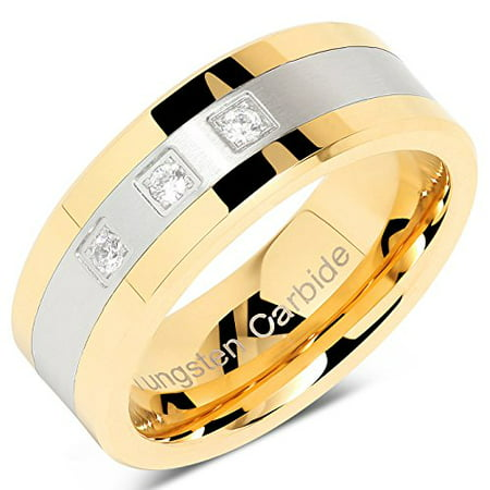 Tungsten Rings For Men Gold Silver Crystal Wedding Bands Two Tone 3 CZ Stone Promise Marriage Size 8-16 (Mens Full Stone)