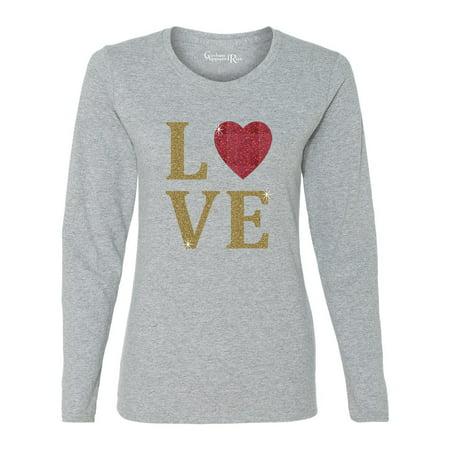 Glitter Top (Love Heart Gold Glitter Valentine Womens Long Sleeve T-Shirt)