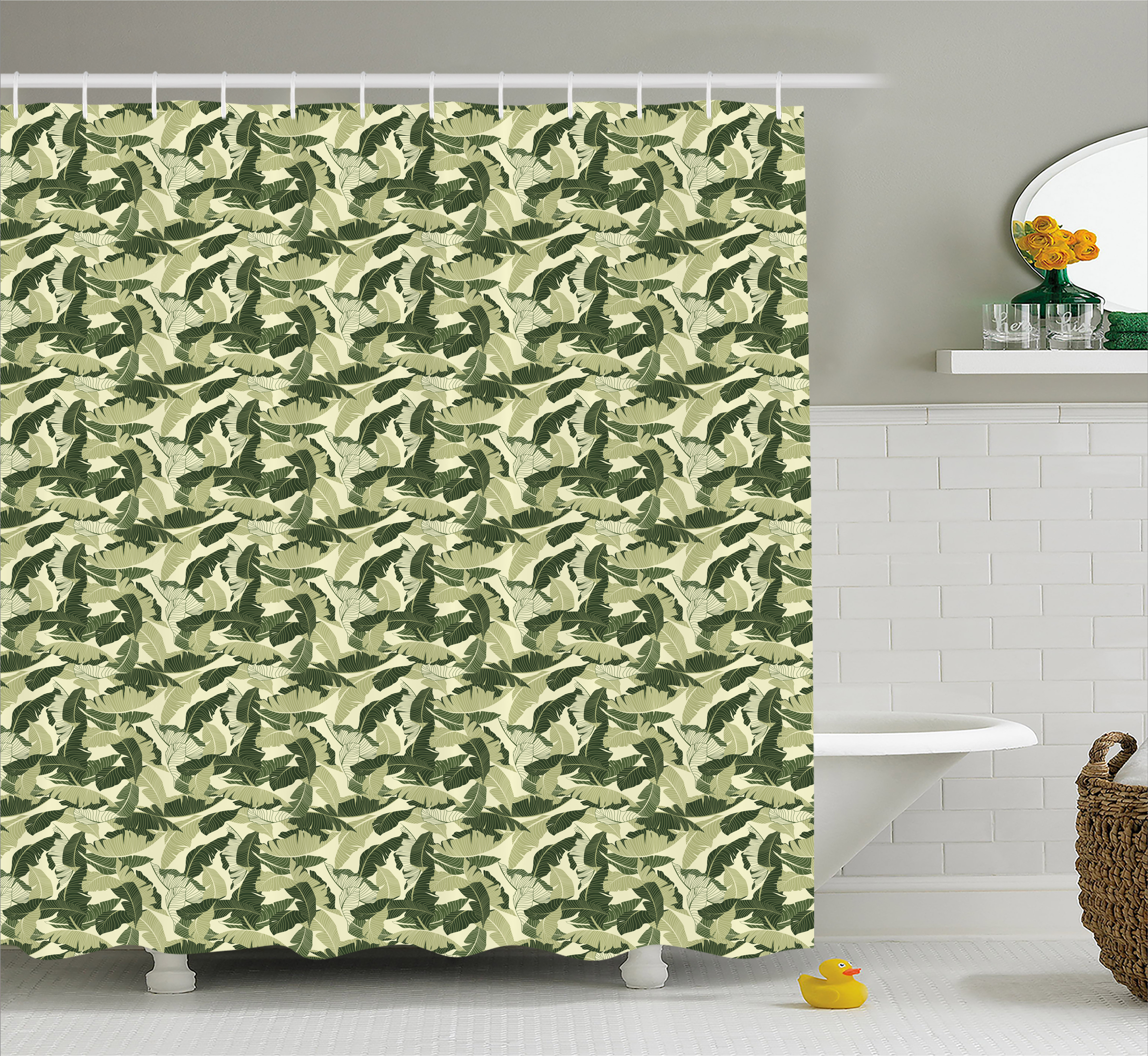 Banana Leaf Shower Curtain Caribbean Exotic Tree Foliage With Vintage Look In Green Shades Fabric Bathroom Set With Hooks Pale Green Dark Green By