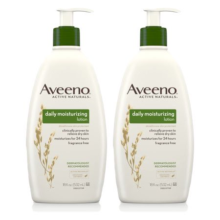(2 Pack) Aveeno Daily Moisturizing Lotion with Oat for Dry Skin, 18 fl. oz (Best Lotion Dry Itchy Skin)