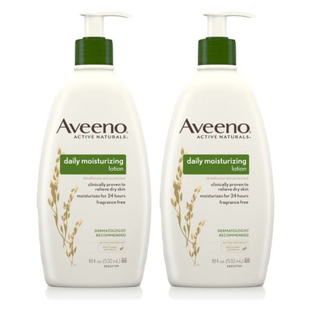 - (2 Pack) Aveeno Daily Moisturizing Lotion with Oat for Dry Skin, 18 fl. oz