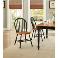 Better Homes and Gardens Autumn Lane Windsor Chairs, Set of 2, Black and Oak by Whalen Limited