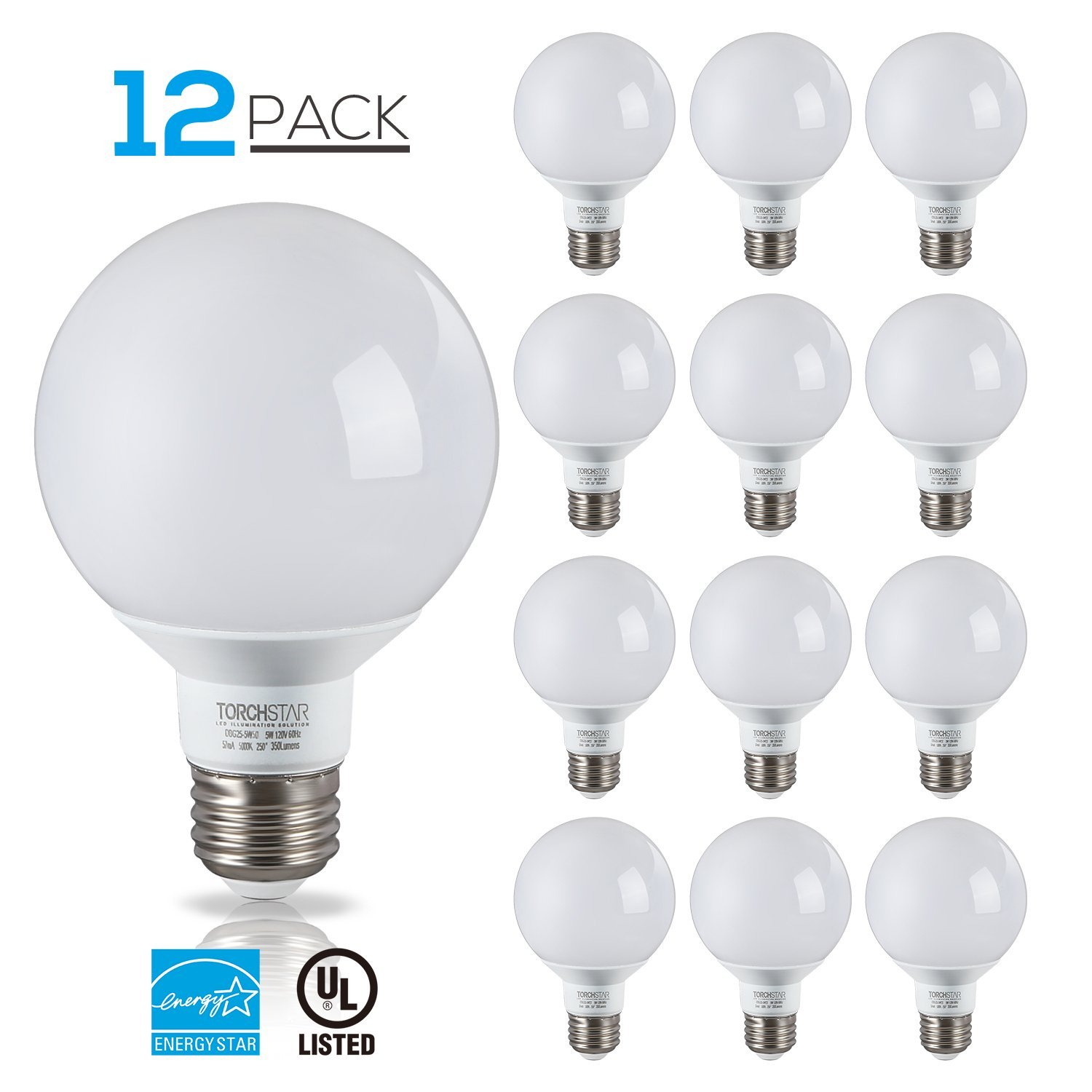 TORCHSTAR 12 Pack 5W G25 LED Bulbs, LED Light Bulbs, LED Globe Light Bulbs, Globe Vanity Light for Bath, Pendant, Dressing Room, Medium E26 Base, 2700K Soft White