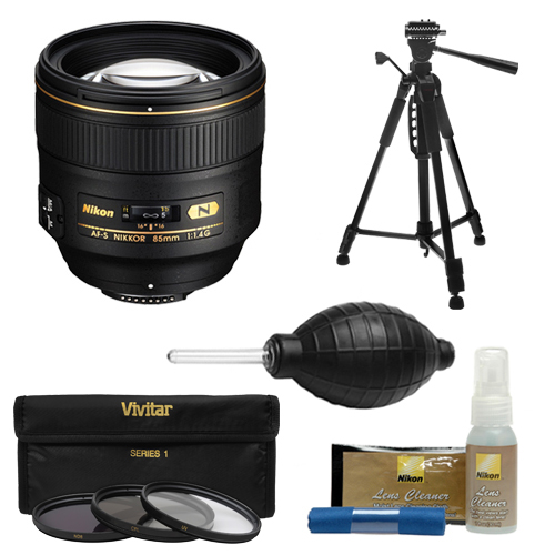 Nikon 85mm f/1.4 G AF-S Nikkor Lens with 3-Piece Filter Set + Tripod + Kit for D3200, D3300, D5300, D5500, D7100, D7200, D610, D750, D810, D4s Cameras