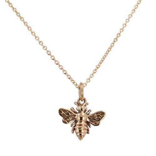 Tiny Honeybee Charm in Natural Bronze on 18 Inch Mini Gold Fill Rolo Chain, #6712