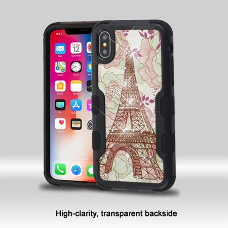 Apple iPhone X Case, by Insten Tuff Vivid Eiffel Tower Dual Layer [Shock Absorbing] Hybrid Rhinestone Diamond Bling Hard Plastic/Soft TPU Rubber Case Cover For Apple iPhone X, Multi-Color - image 3 of 6
