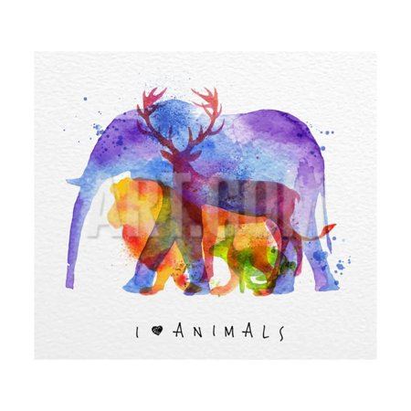 Color Animals ,Elephant, Deer, Lion, Rabbit, Drawing Overprint on Paper Background Lettering I Love Print Wall Art By - Elephant Color