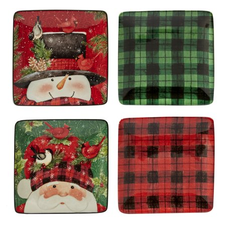 Certified International Tableware (Certified International  Winter's Plaid Set of 4 Canape Plates )