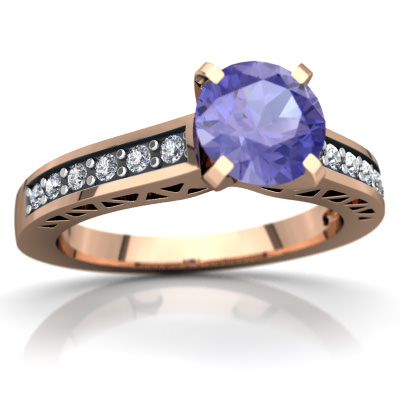 Tanzanite Art Deco Ring in 14K Rose Gold by