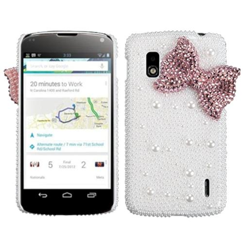 Insten Pink Bow Pearl 3D Diamante Back Case (with Package) for LG: E960 (Nexus 4)