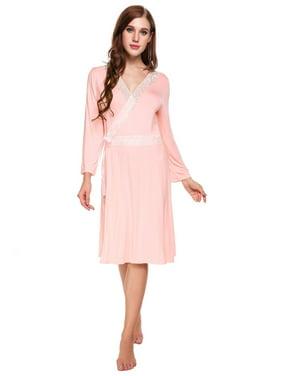 9e070b5e4c Product Image Womens Long Sleeve Lace Patchwork Self Belt Cotton Long Robe  HFON