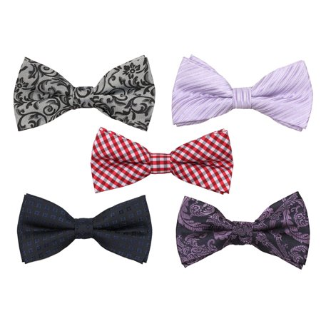 Mens Tuxedo Adjustable Neck Bowtie Bow Tie 5pc Mixed Lot Boxed Pattern Bow Tie