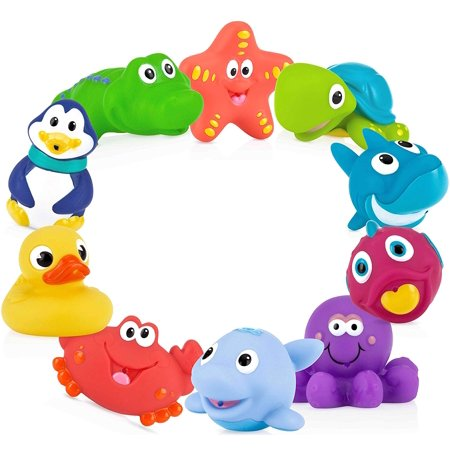10-Pack Little Squirts Fun Bath Toys, Assorted Characters, NOTE: This is an assorted product; color and print advertised are subjected to vary. By (Best Nuby Baby Bath Products)