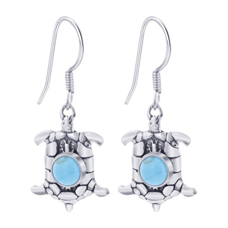 Gem Avenue 925 Sterling Silver Simulated Turquoise Turtle French wire Drop (Turquoise Stone Drop)