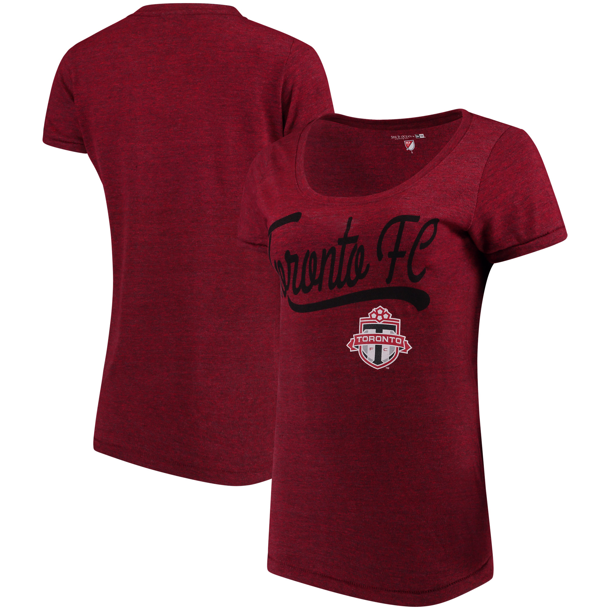 Toronto FC 5th & Ocean by New Era Women's Scoop Neck Tri-Blend T-Shirt - Red