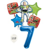 7th Birthday Toy Story Buzz Lightyear and Friends Party Decorations Balloon Bouquet