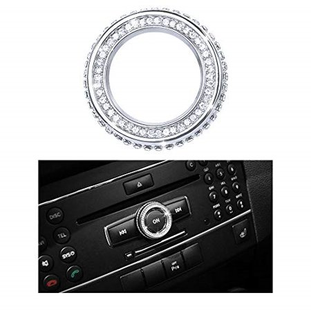 1797 compatible w204 w213 c117 x156 c e cla gla gle class volume media control knob caps mercedes benz accessories parts bling covers decals stickers interior decorations amg women men crystal silver thumbnail