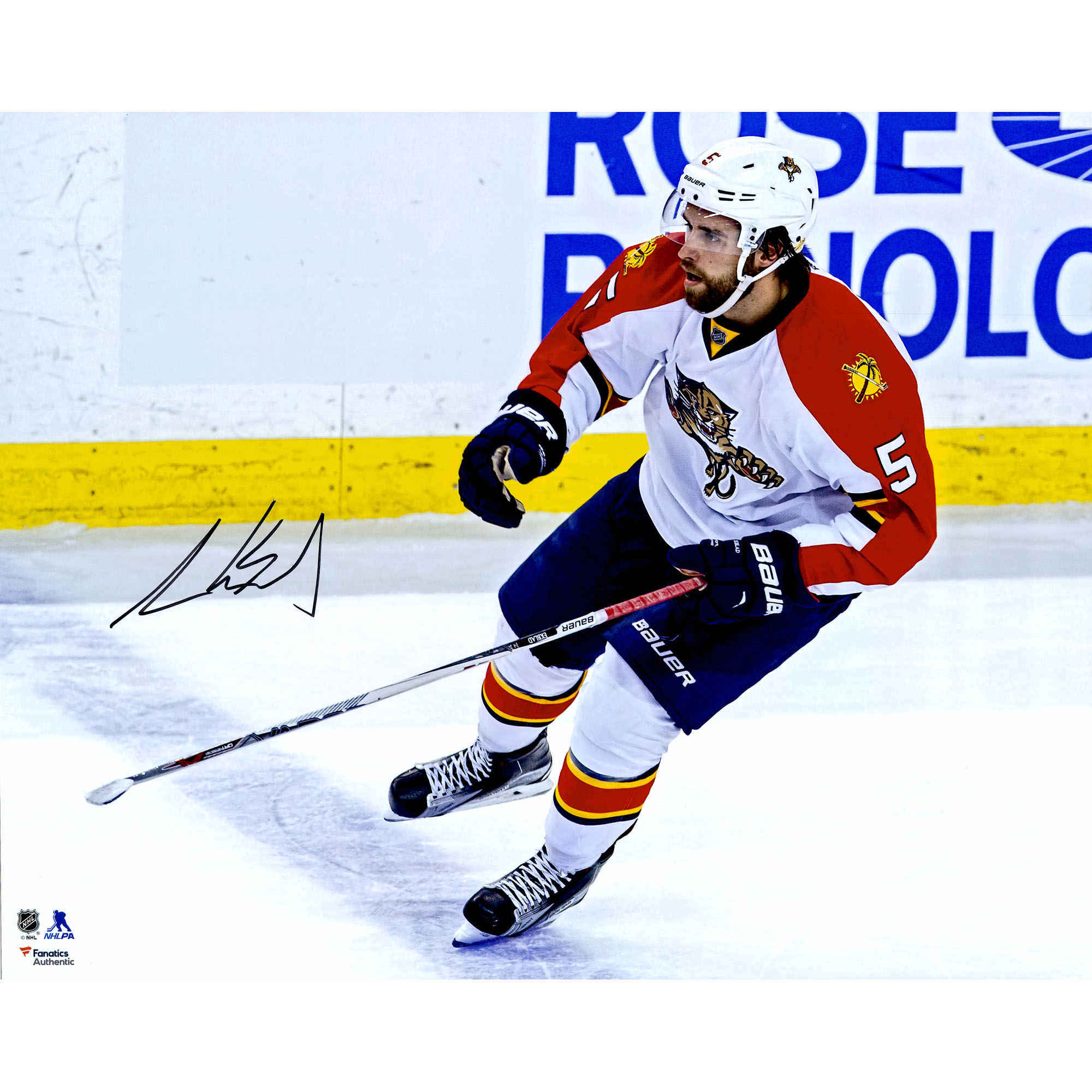 "Aaron Ekblad Florida Panthers Fanatics Authentic Autographed 16"" x 20"" White Jersey Skating Photograph No Size by Fanatics Authentic"