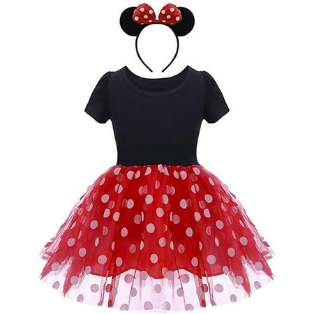 Minnie Mouse Costume For Girls (Minnie Costume Baby Girl Dress Mouse Ear Headband Polka Dot)