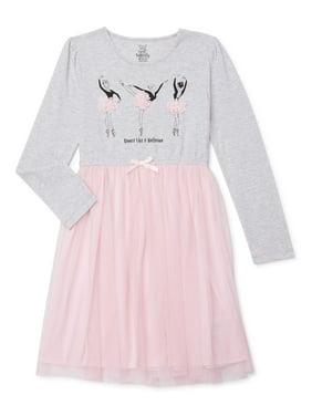 Sweet Butterfly Girls Long Sleeve Tulle Tutu Dress, Sizes 4-16